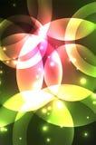 Het gloeien glanzende overlappende cirkelssamenstelling op donkere achtergrond Stock Afbeeldingen