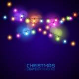 Het gloeien Kerstmislichten Royalty-vrije Stock Afbeeldingen