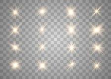 Het gloeien lichten en sterren stock foto