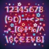 Het gloeien Neon Rode Blauwe Aantallen vector illustratie