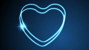 Het gloeien videoanimatie van neon retro harten stock video