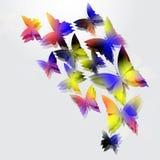 Het gloeien vlinders op witte achtergrond Abstract ontwerp royalty-vrije illustratie