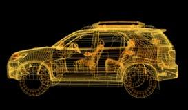 Het gloeien wireframe van een auto 3d model Stock Afbeelding