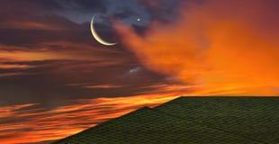 Het gloeien Zonsondergang Ramadan Kareem Royalty-vrije Stock Fotografie