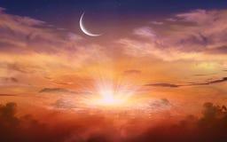 Het gloeien Zonsondergang Ramadan Kareem Royalty-vrije Stock Afbeeldingen