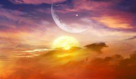 Het gloeien Zonsondergang Ramadan Kareem Royalty-vrije Stock Foto
