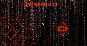 Het gloeiende Klassieke enz. symbool van Ethereum tegen de dalende binaire codesymbolen stock footage