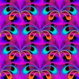 Het gloeiende kleurrijke bloemen vector 3d naadloze patroon van Paisley Orna royalty-vrije illustratie