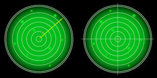 Het gloeiende Radarscherm met Lichtgevende Doelstellingen vector Royalty-vrije Stock Afbeelding