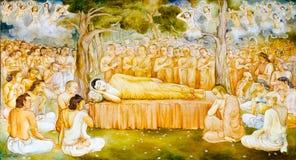 Het godsdienstige schilderen in een Boeddhistische tempel stock afbeelding