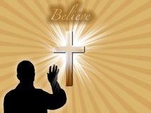 Het godsdienstige Silhouet van de Mens op Retro Achtergrond Stock Foto's