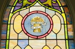 Het godsdienstige venster van het vlekglas Stock Foto's