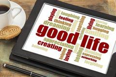 Het goede leven - positieve woordwolk Stock Afbeelding