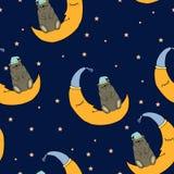 Het goede nacht naadloze patroon met mooie slaap draagt vector illustratie