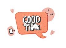 Het goede Tijd met de hand geschreven vector van letters voorzien stock illustratie