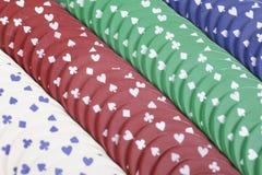 Het gokken achtergrond met rijen van casinospaanders Royalty-vrije Stock Afbeelding