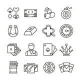Het gokken, casino, de vector eenvoudige pictogrammen van de pook dun lijn vector illustratie