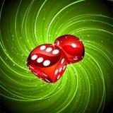 Het gokken de illustratie met rood dobbelt Royalty-vrije Stock Foto's