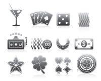 Het gokken de Reeksreeks van het Pictogrammensilhouet Stock Fotografie
