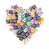 Het gokken dobbelt hartsymbool op wit wordt geïsoleerd dat Royalty-vrije Stock Afbeeldingen