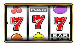 Het gokken illustratie 777 Geïsoleerd op wit stock afbeeldingen