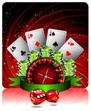 Het gokken illustratie met casinoelementen Royalty-vrije Stock Afbeelding