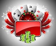 Het gokken illustratie met casinoelementen Royalty-vrije Stock Foto's
