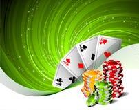 Het gokken illustratie met casinoelementen Stock Afbeeldingen