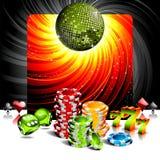 Het gokken illustratie met casinoelementen Stock Foto