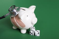 Het gokken op gezondheid van uw financiën stock afbeeldingen