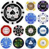 Het gokken spaanders vectorreeks Royalty-vrije Stock Afbeelding
