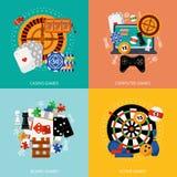 Het gokken spelen 4 vlak pictogrammenvierkant Royalty-vrije Stock Foto's
