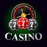 Het gokken van pictogram met spaanders en roulette Stock Afbeelding