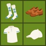 Het golf kleedt van de de karspeler van het hobbymateriaal van het de sportsymbool de golfing van het de vlaggat van het spelelem vector illustratie