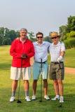 Het Golf Threesome van de Mensen van de mengen-leeftijd Stock Afbeeldingen