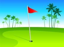 Het golfcursus van de luxe met palmen op blauwe hemelbac Royalty-vrije Stock Fotografie