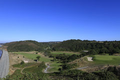 Het golfcursus van Pleneufval andre, Bretagne, Frankrijk Royalty-vrije Stock Afbeelding