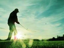 het golfing in zonsondergang Stock Fotografie