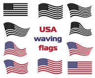 Het golven de V.S. nationale vlag vastgestelde vector zwart-wit en kleur Royalty-vrije Stock Afbeelding