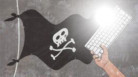 Het Golven en het Toetsenbord van de piraatvlag Stock Afbeeldingen