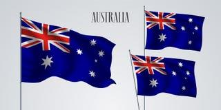 Het golven van Australië vlagreeks van vectorillustratie Stock Afbeeldingen