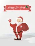 Het Golven van de Kerstman De zak met giften heeft gebracht Vectorillustratie van een vlakke stijl Stock Foto