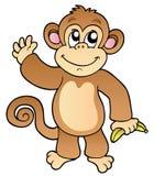 Het golven van het beeldverhaal aap met banaan Stock Afbeeldingen