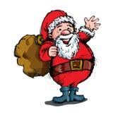 Het golven van het beeldverhaal Kerstman met zak Royalty-vrije Stock Afbeelding