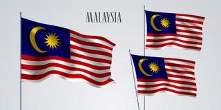 Het golven van Maleisië vlagreeks van vectorillustratie vector illustratie