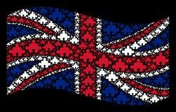 Het golven het Verenigd Koninkrijk Vlagcollage van Componentenpictogrammen royalty-vrije illustratie