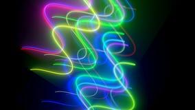 Het golvende neon lins is in donkere ruimte, computer geproduceerde moderne abstracte achtergrond, 3d geef terug vector illustratie