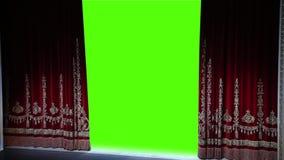 Het gordijn opent, groene chromakey stock videobeelden