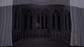 Het gotische balkon in oud 3d kasteel geeft achtergrond terug Stock Fotografie