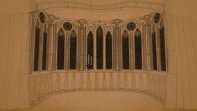 Het gotische balkon in oud 3d kasteel geeft illustratieachtergrond terug Stock Afbeeldingen